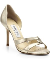 Jimmy Choo Tocsin Twist D'Orsay Metallic Leather Sandals - Lyst