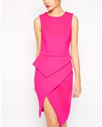 Asos Premium Peplum Asymmetric Dress - Lyst