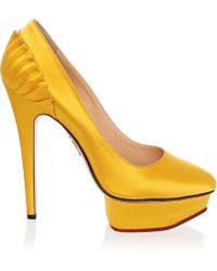 Charlotte Olympia Yellow Paloma Fan Satin Pumps - Lyst