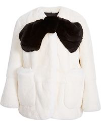 Marc Jacobs Bow-embellished Rabbit-fur Jacket - Lyst