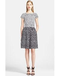 Oscar de la Renta Polka Dot Stretch Cotton Fit & Flare Dress - Lyst