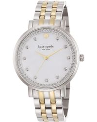 Kate Spade Monterey PavÉ Mother-Of-Pearl & Two-Tone Stainless Steel Bracelet Watch silver - Lyst