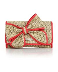 Kate Spade Belle Place Straw & Leather Bow Clutch pink - Lyst