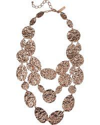 Oscar de la Renta Hammered Rose Goldplated Multistrand Necklace - Lyst