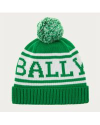Bally - Knitted Cotton Beanie Men's Cotton Knit Pompom Beanie In Moss - Lyst