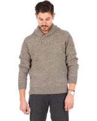 Barbour | Bransfield Shawl Neck Sweater In Sandstone | Lyst