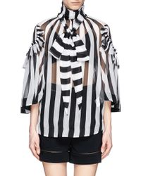Givenchy Collar Tie Stripe Sheer Silk Blouse - Lyst