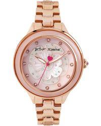 Betsey Johnson Ladies Rose Gold-Tone Flower Motif Bracelet Watch - Lyst