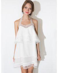 Pixie Market J.O.A White Organza Tiered Dress - Lyst