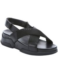 Prada Black Leather And Nylon Strappy Sandals - Lyst