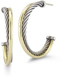 David Yurman Pre-owned 14ky  Sterling Silver Cross Over Cable Hoop Earrings - Lyst