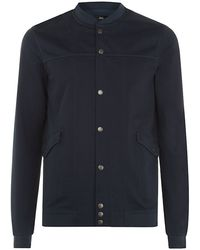 Boss Black Navy Prezza Cotton Sweater - Lyst