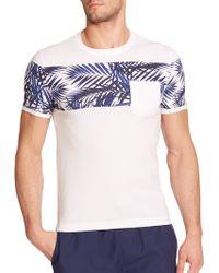 Original Penguin Palm-Print Striped Cotton T-Shirt - Lyst