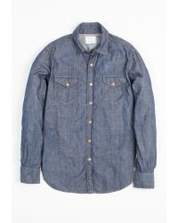 Billy Reid Indigo Denim Work Shirt - Lyst