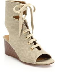 Chloé | Lace-up Canvas Wedge Sandals | Lyst