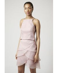 Topshop Organza High Neck Cropped Cami - Lyst