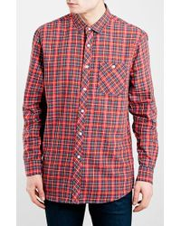Topman Men'S Slim Fit Tartan Plaid Shirt - Lyst