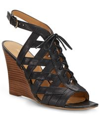 Nine West Leather Caged Sandals - Lyst