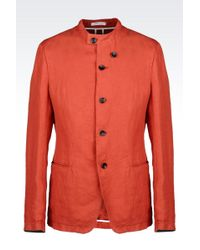 Armani Deconstructed Slim Fit Jacket In Linen - Lyst