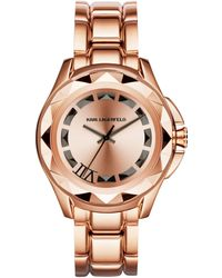 Karl Lagerfeld Unisex Karl 7 Rose Goldtone Stainless Steel Bracelet Watch 44mm - Lyst