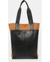 Asos Leather and Canvas Tote Bag - Lyst