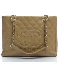 Chanel Preowned Beige Caviar Gst Grand Shopping Tote - Lyst