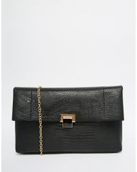 Warehouse - Croc Effect Fold Over Clutch Bag - Lyst