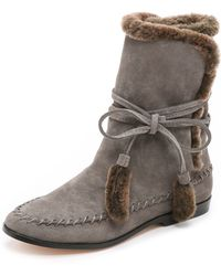 Cynthia Vincent - Hustle Shearling Boots - Charcoal/brown - Lyst
