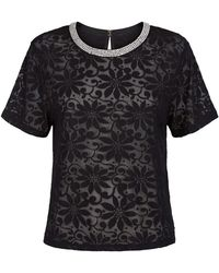 Juicy Couture Daisy Burnout Embellished T-Shirt black - Lyst