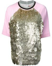 MSGM Raglan Sleeve Sequinned T-shirt - Lyst