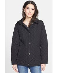 Calvin Klein Diamond Quilted Coat With Detachable Hood - Lyst