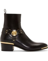 Versace Black Leather Medusa Boots - Lyst