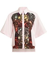 Peter Pilotto Floral Lace Insert Cotton Shirt - Lyst
