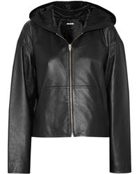 T By Alexander Wang Hooded Leather Jacket - Lyst