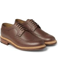 Grenson Sid Burnished-leather Longwing Brogues - Lyst