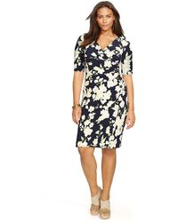 Lauren by Ralph Lauren Plus Floral-Print Mock-Wrap Dress - Lyst