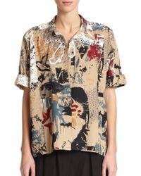 Donna Karan New York Printed Roll-Sleeve Camp Shirt - Lyst