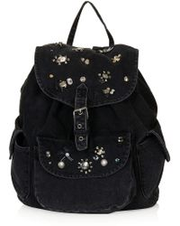 Topshop Gem Denim Backpack - Lyst