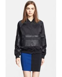 T By Alexander Wang Leather Stripe Satin Bomber - Lyst