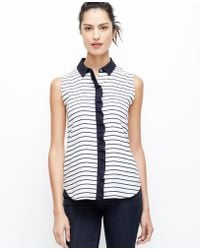 Ann Taylor Striped Ruffle Sleeveless Shirt - Lyst