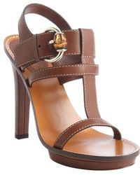 Gucci Brown Leather T-strap Buckle Detail Heel Sandals - Lyst