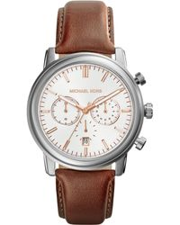 Michael Kors Mens Chronograph Pennant Luggage Leather Strap Watch 43mm - Lyst