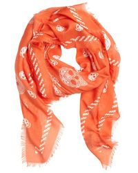Alexander McQueen Flame and White Silk Blend Skull Printed Scarf - Lyst