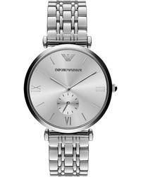 Emporio Armani Gianni Silvertone Bracelet Watch - Lyst