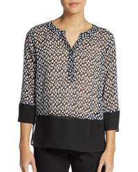 Saks Fifth Avenue Black Label Printed Chiffon Blouse - Lyst