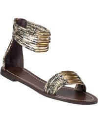 Tory Burch Mignon Ring Flat Sandal Airless Snake silver - Lyst