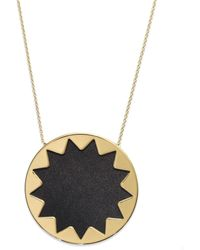 House Of Harlow Necklace Gold Tone Black Leather Sunburst Pendant Necklace - Lyst