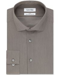 Calvin Klein Steel Non-Iron Performance Slim-Fit Mochachino Stripe Dress Shirt - Lyst
