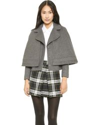 Tory Burch Jess Jacket with Cape Overlay  Grey Melange - Lyst