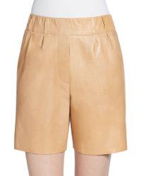 Brunello Cucinelli Leather Bermuda Shorts - Lyst
